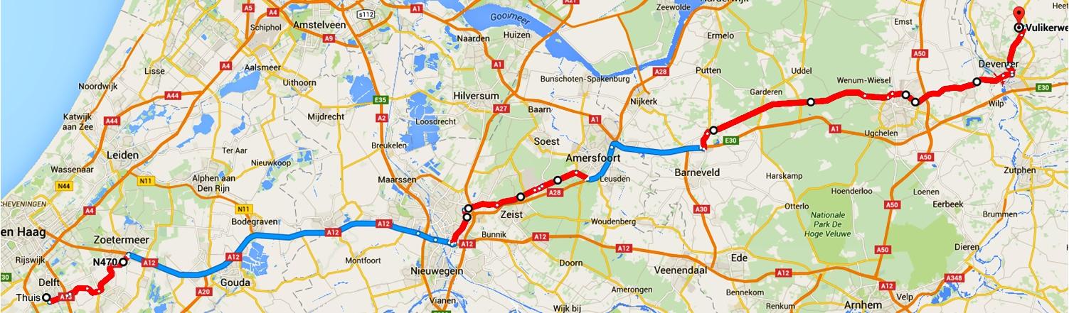 Google Maps route Delft-Diepenveen